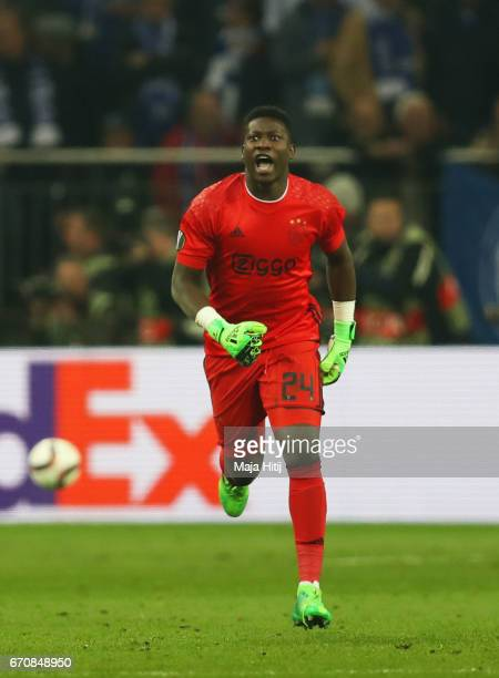 Andre Onana of Ajax celebrates as Nick Viergever of Ajax scores their first goal during the UEFA Europa League quarter final second leg match between...