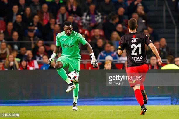Andre Onana of Ajax Danilo Pantic of Excelsiorduring the Dutch Eredivisie match between Ajax Amsterdam and sbv Excelsior at the Amsterdam Arena on...
