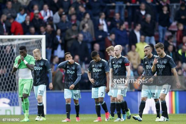 Andre Onana of Ajax Donny van de Beek of Ajax Justin Kluivert of Ajax David Neres of Ajax Davy Klaassen of Ajax Hakim Ziyech of Ajax Joel Veltman of...