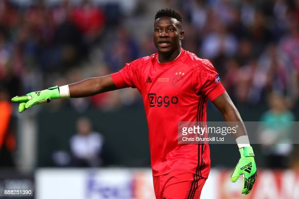 Andre Onana of Ajax gestures during the UEFA Europa League Final match between Ajax and Manchester United at Friends Arena on May 24 2017 in...
