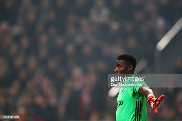 Andre Onana of Ajax in action during the Eredivisie match between Ajax Amsterdam and PSV Eindhoven held at Amsterdam Arena on December 18 2016 in...