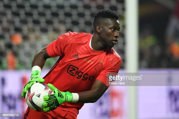 Andre Onana of Ajax in action during the UEFA Europa League final match between Ajax and Manchester United at Friends Arena on May 24 2017 in...