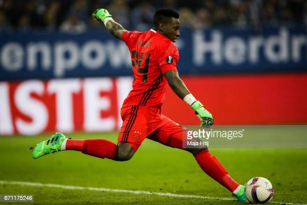 Andre Onana of Ajax kicks the ball during the UEFA Europa League quarter final second leg match between FC Schalke 04 and Ajax Amsterdam at...