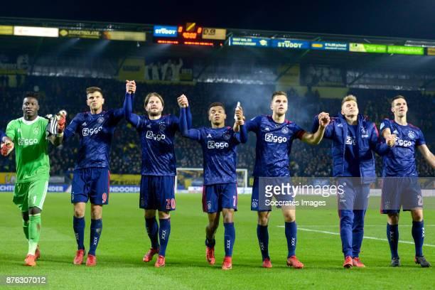 Andre Onana of Ajax Klaas Jan Huntelaar of Ajax Lasse Schone of Ajax David Neres of Ajax Joel Veltman of Ajax Daley Sinkgraven of Ajax Nick Viergever...