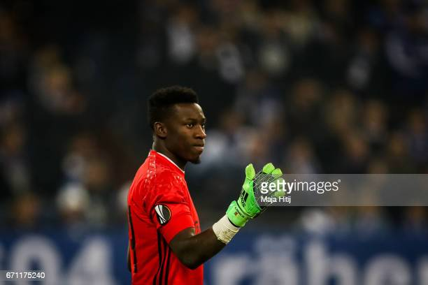 Andre Onana of Ajax reacts during the UEFA Europa League quarter final second leg match between FC Schalke 04 and Ajax Amsterdam at VeltinsArena on...