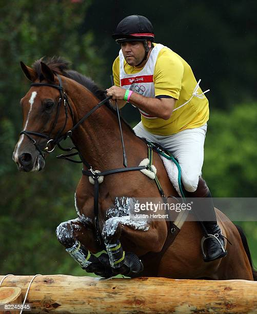 Andre Paro of Brazil and Land Heir jumps during the Eventing Cross Country event held at the Hong Kong Olympic Equestrian Venue at Beas River on Day...