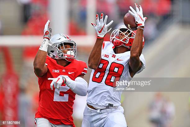 Andre Patton of the Rutgers Scarlet Knights attempts to pull in a pass reception in front of Marshon Lattimore of the Ohio State Buckeyes in the...