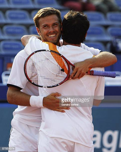 Andre Pavel of Romania and Alexander Waske of Germany celebrate after winning the men's doubles final against Alexander Peya of Austria and Bjoern...