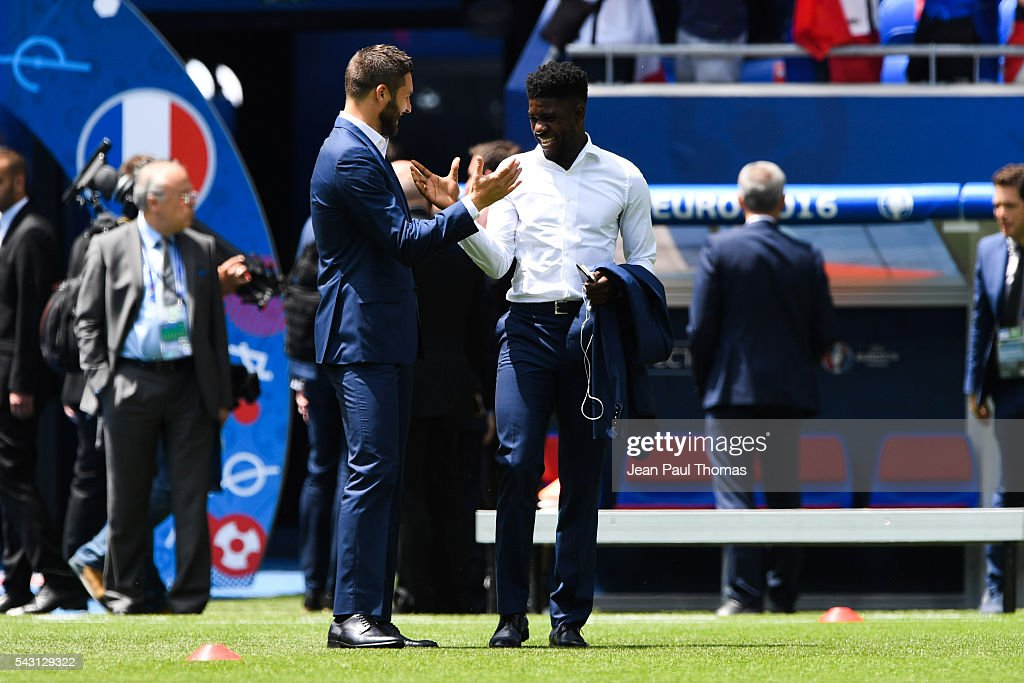 Andre Pierre Gignac and Samuel Umtiti of France during the European Championship match Round of 16 between France and Republic of Ireland at Stade des Lumieres on June 26, 2016 in Lyon, France.