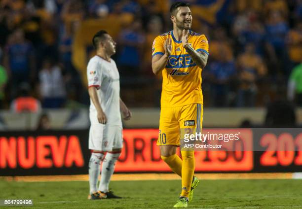 Andre Pierre Gignac forward of Tigres celebrates after scoring against Toluca during the Mexican Apertura 2017 tournament football match at the...