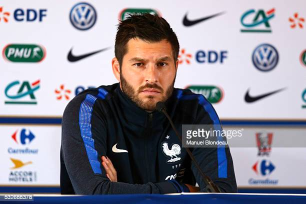 Andre Pierre Gignac of France in press conference during the preparation on the French football National Team for Euro 2016 on May 19 2016 in...
