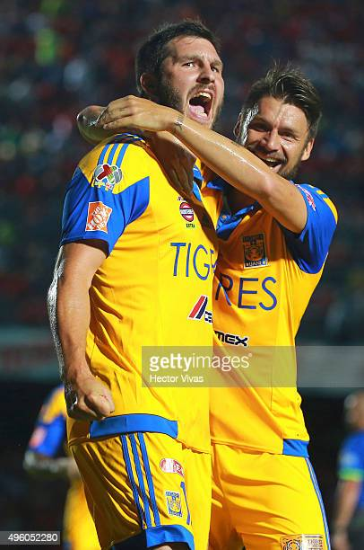 Andre Pierre Gignac of Tigres celebrates after scoring the first goal of his team during the 16th round match between Veracruz and Tigres UANL as...