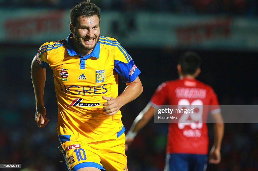 Andre Pierre Gignac of Tigres celebrates after scoring the first goal of his team during the 16th round match between Veracruz and Tigres UANL as part of the Apertura 2015 Liga MX at Luis Pirata de la Fuente Stadium on November 06, 2015 in Veracruz, Mexico.