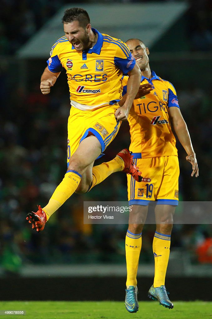 Andre Pierre Gignac of Tigres celebrates after scoring the first goal of his team during the quarterfinals second leg match between Chiapas and Tigres UANL as part of the Apertura 2015 Liga MX at Victor Manuel Reyna Stadium on November 28, 2015 in Tuxtla Gutierrez, Mexico.