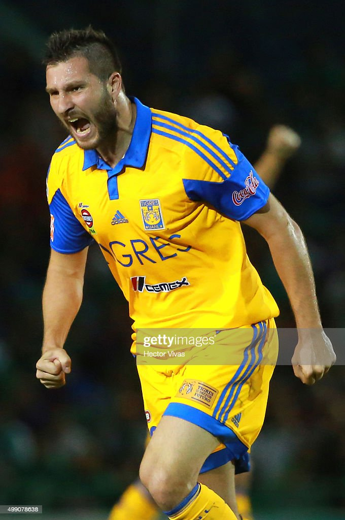 Andre Pierre Gignac of Tigres celebrates after scoring the first goal of his team during the quarterfinals second leg match between Chiapas and Tigres UANL as part of the Apertura 2015 Liga MX at Victor Manuel Reyna Stadium on November 28, 2015 in Chiapas, Mexico.
