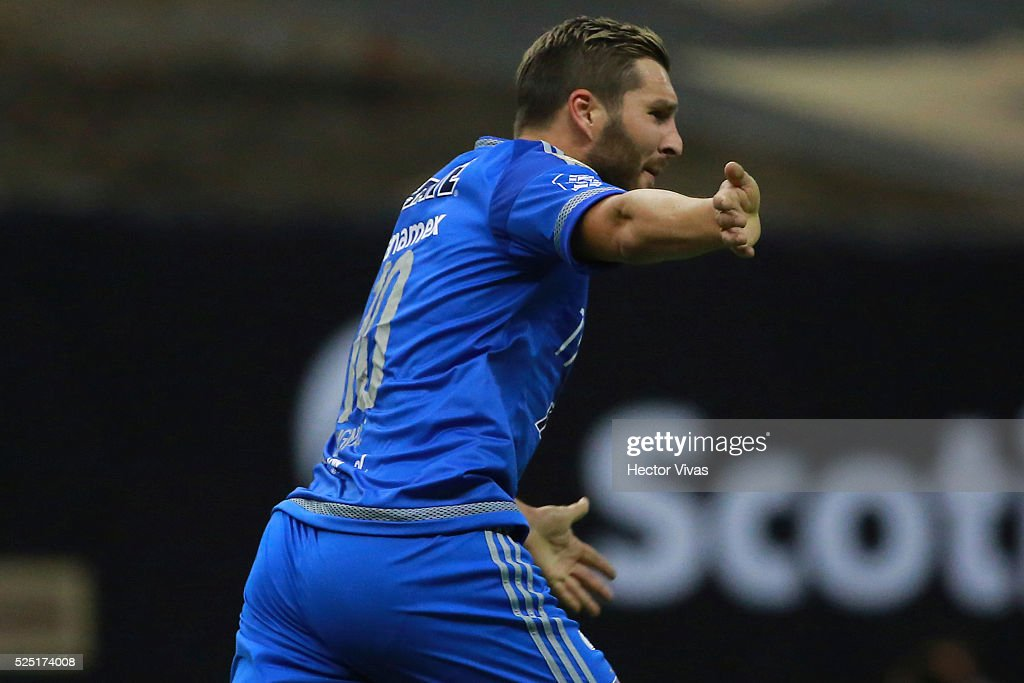 Andre Pierre Gignac of Tigres celebrates after scoring the first goal of his team during the Final second leg match between America and Tigres UANL...
