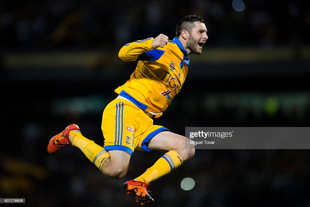 Andre Pierre Gignac of Tigres celebrates after scoring the first penalty kick during the final second leg match between Pumas UNAM and Tigres UANL as part of the Apertura 2015 Liga MX at Olimpico Universitario Stadium on December 13, 2015 in Mexico City, Mexico.