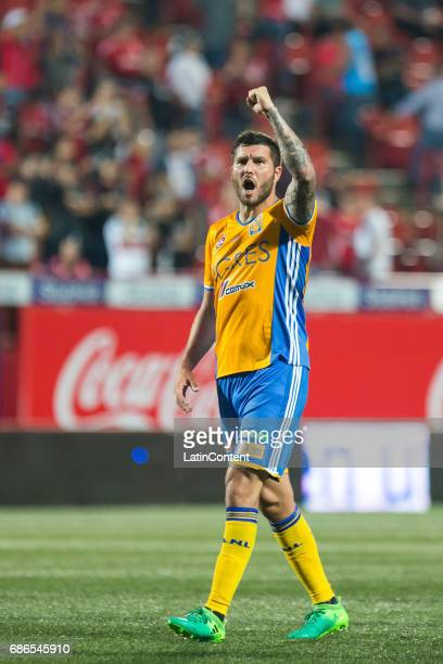 Andre Pierre Gignac of Tigres celebrates during the semi final second leg match between Tijuana and Tigres UANL as part of the Torneo Clausura 2017...