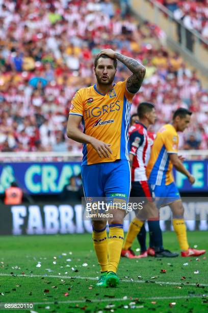 Andre Pierre Gignac of Tigres reacts during the Final second leg match between Chivas and Tigres UANL as part of the Torneo Clausura 2017 Liga MX at...