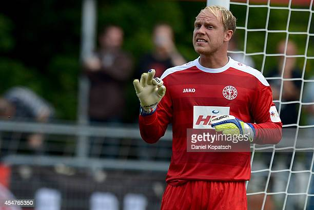 Andre Poggenborg of Koeln reacts during the third Bundesliga match between Stuttgarter Kickers and Fortuna Koeln on September 6 2014 in Stuttgart...
