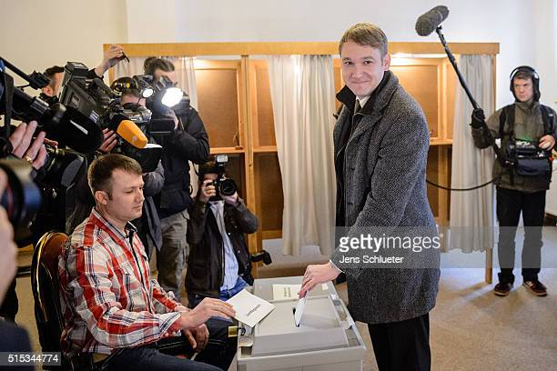 Andre Poggenburg lead candidate of the Alternative fuer Deutschland political party in state parliamentary elections in SaxonyAnhalt casts his ballot...