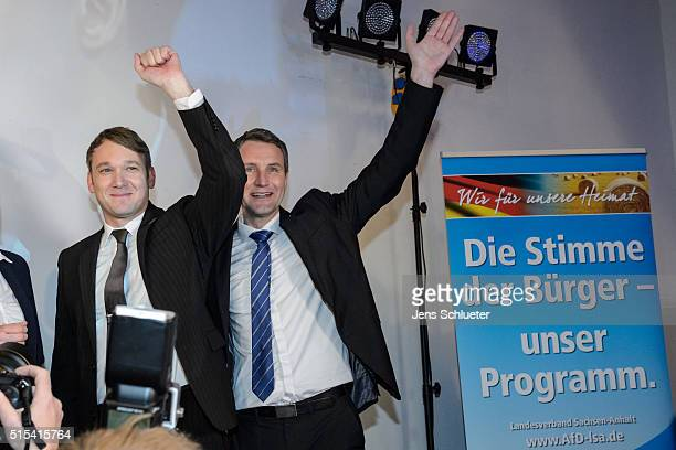Andre Poggenburg lead candidate of the Alternative fuer Deutschland political party in state parliamentary elections in SaxonyAnhalt and Bjoern...