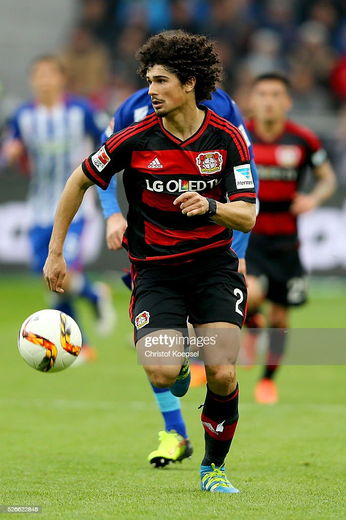 Andre Ramalho of Leverkusen runs with the ball during the Bundesliga match between Bayer Leverkusen and Hertha BSC Berlin at BayArena on April 30, 2016 in Leverkusen, Germany.