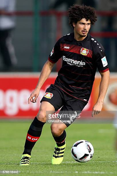 Andre Ramalho of Leverkusen runs with the ball during the friendly match between SC Verl and Bayer Leverkusen at Sportclub Arena on July 15 2016 in...