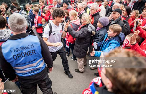 Andre Ramalho of Mainz arrives prior to the Bundesliga match between 1 FSV Mainz 05 and Hertha BSC at Opel Arena on April 15 2017 in Mainz Germany