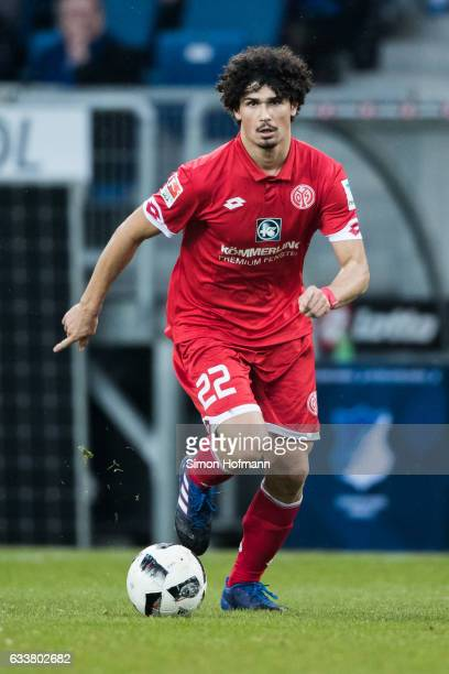 Andre Ramalho of Mainz controls the ball during the Bundesliga match between TSG 1899 Hoffenheim and 1 FSV Mainz 05 at Wirsol RheinNeckarArena on...