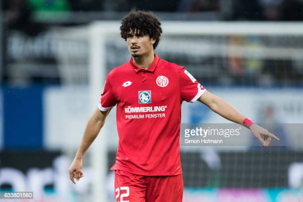 Andre Ramalho of Mainz gestures during the Bundesliga match between TSG 1899 Hoffenheim and 1 FSV Mainz 05 at Wirsol RheinNeckarArena on February 4...
