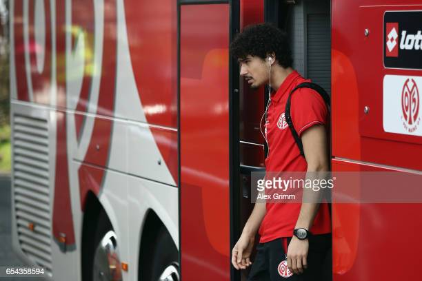 Andre Ramalho of Mainz leaves the team bus prior to the Bundesliga match between SV Darmstadt 98 and 1 FSV Mainz 05 at JonathanHeimesStadion am...