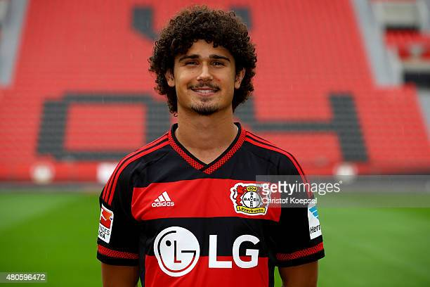 Andre Ramalho poses during the team presentation of Bayer Leverkusen at BayArena on July 13 2015 in Leverkusen Germany