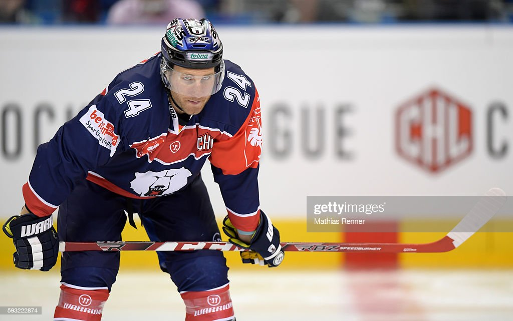 Andre Rankel of the Eisbaeren Berlin during the Champions Hockey League game between the Eisbaeren Berlin and SaiPa Lappeenranta on August 21 2016 in...