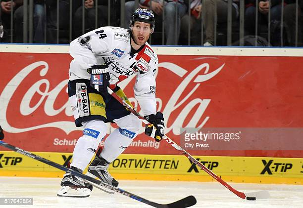 Andre Rankel of the Eisbaeren Berlin during the DEL playoff match between Koelner Haie and the Eisbaeren Berlin on March 26 2016 in Cologne Germany