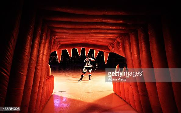 Andre Reiss of Augsburger skates onto the ice before the DEL Ice Hockey match between Augsburger Panther and Schwenninger Wild Wings at Curt Frenzel...