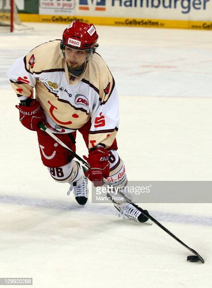 Andre Reiss of Hannover skates against the Hamburg Freezers during the DEL match between Hamburg Freezers and Hannover Scorpions at the O2 World...