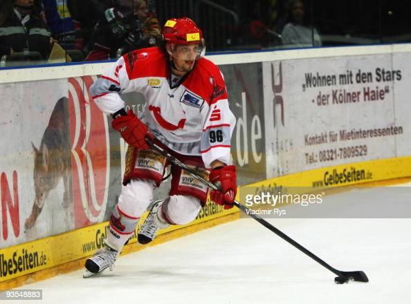 Andre Reiss of Scorpions in action during the Deutsche Eishockey Liga game between Koelner Haie and Hannover Scorpions at Lanxess Arena on December 1...