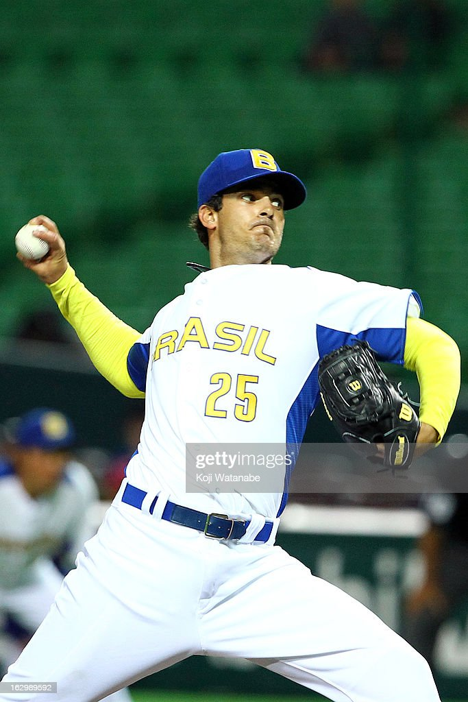 Andre Rienzo #25 of Brazil pitcher against Cuba during the World Baseball Classic First Round Group A game between Brazil and Cuba at Fukuoka Yahoo! Japan Dome on March 3, 2013 in Fukuoka, Japan.