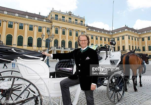Andre Rieu poses for the media in front of the Schoenbrunn Castle on May 28 2010 in Vienna Austria