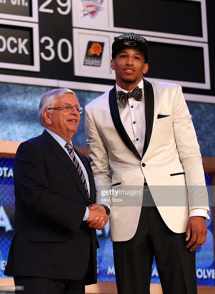 Andre Roberson (R) of France poses for a photo with NBA Commissioner David Stern after Roberson was drafted #26 overall in the first round by the Minnesota Timberwolves during the 2013 NBA Draft at Barclays Center on June 27, 2013 in in the Brooklyn Borough of New York City.
