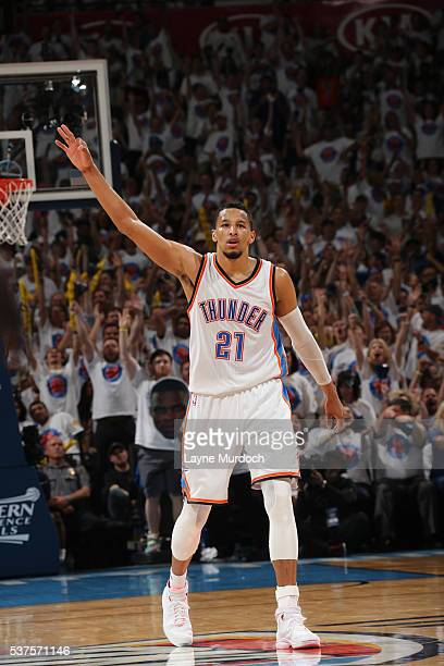 Andre Roberson of the Oklahoma City Thunder celebrates a three point basket against the Golden State Warriors in Game Four of the Western Conference...