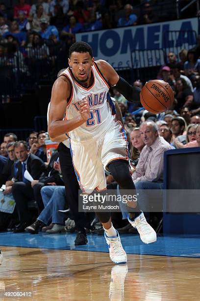 Andre Roberson of the Oklahoma City Thunder drives to the basket against Fenerbahce during a preseason game on October 9 2015 at Chesapeake Energy...