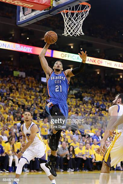 Andre Roberson of the Oklahoma City Thunder dunks the ball against the Golden State Warriors during Game Five of the Western Conference Finals during...