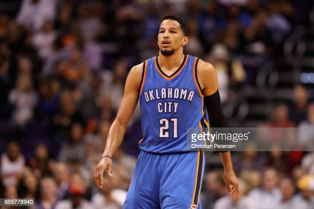 Andre Roberson of the Oklahoma City Thunder during the first half of the NBA game against the Phoenix Suns at Talking Stick Resort Arena on March 3...