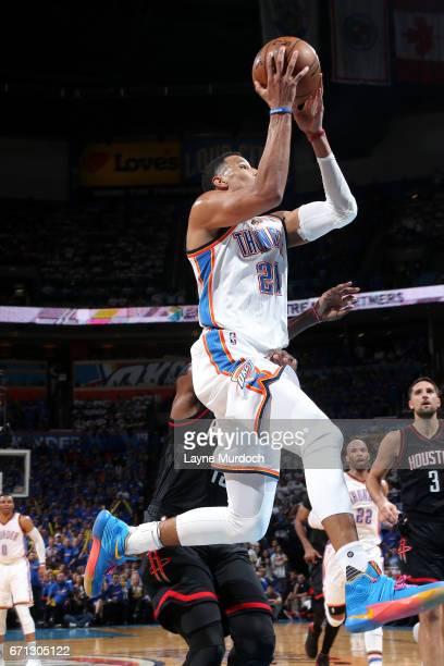 Andre Roberson of the Oklahoma City Thunder goes for a lay up during the game against the Houston Rockets during the Western Conference Quarterfinals...