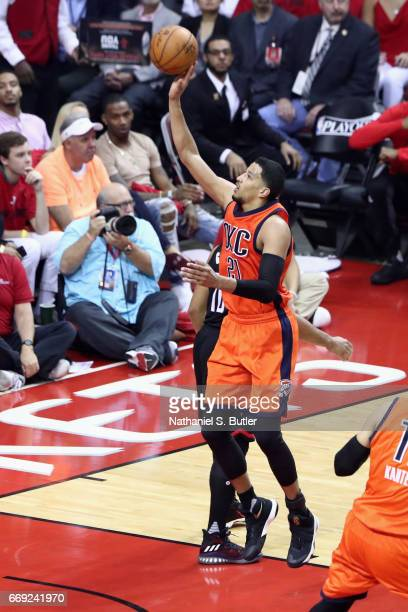 Andre Roberson of the Oklahoma City Thunder goes to the basket against the Houston Rockets during the Western Conference Quarterfinals of the 2017...