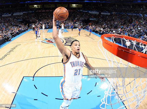 Andre Roberson of the Oklahoma City Thunder goes up for a shot against the Memphis Grizzlies on January 16 2015 at Smoothie King Center in New...