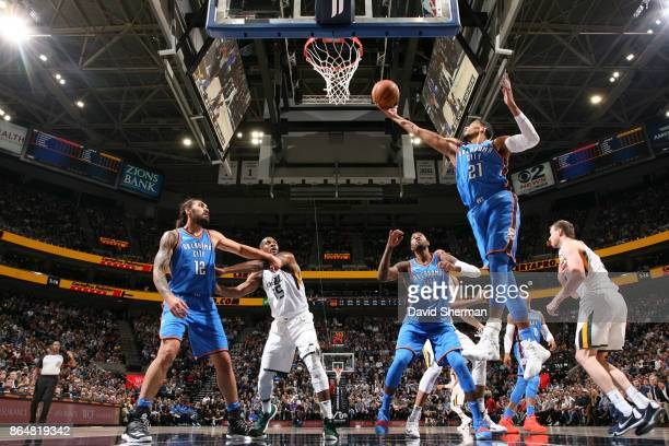 Andre Roberson of the Oklahoma City Thunder handles the ball during a game against the Utah Jazz on October 21 2017 at Vivint Smart Home Arena in...