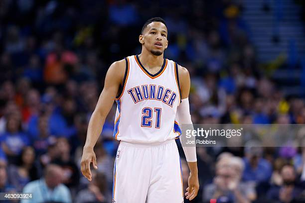 Andre Roberson of the Oklahoma City Thunder looks on during the game against the Los Angeles Clippers at Chesapeake Energy Arena on February 8 2015...